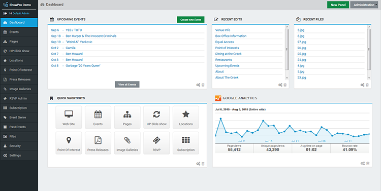 ShowPro Dashboard